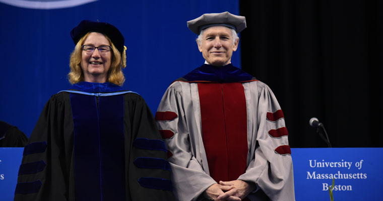 Ellen Douglas and Paul Kirshen, who were honored at commencement