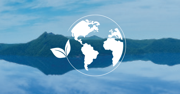 Earth Week graphic has globe graphic superimposed over mountain and water